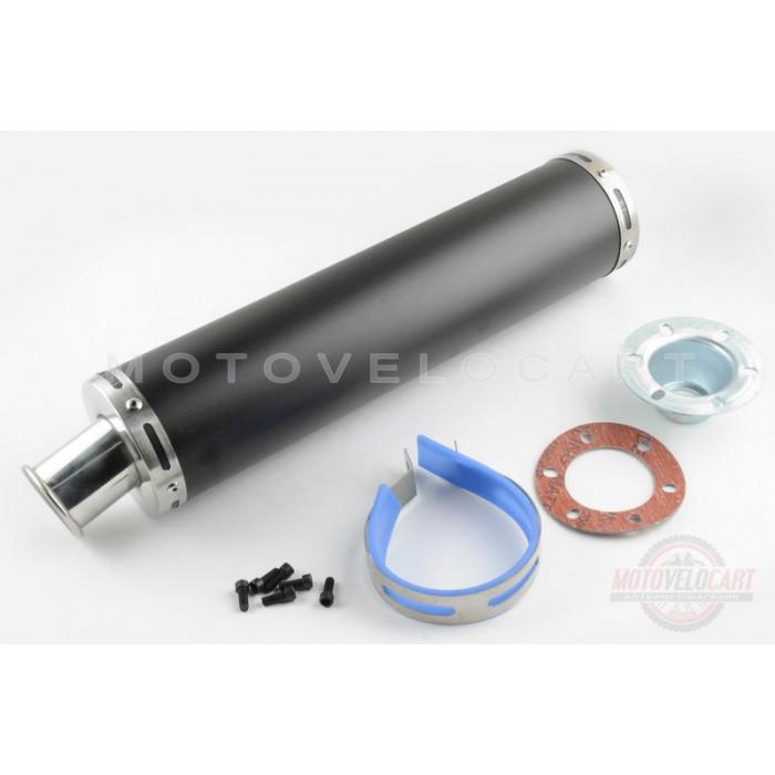 Глушитель (тюнинг) 420*100mm, креп. ?78mm (нержавейка, черный, прямоток, mod:4)