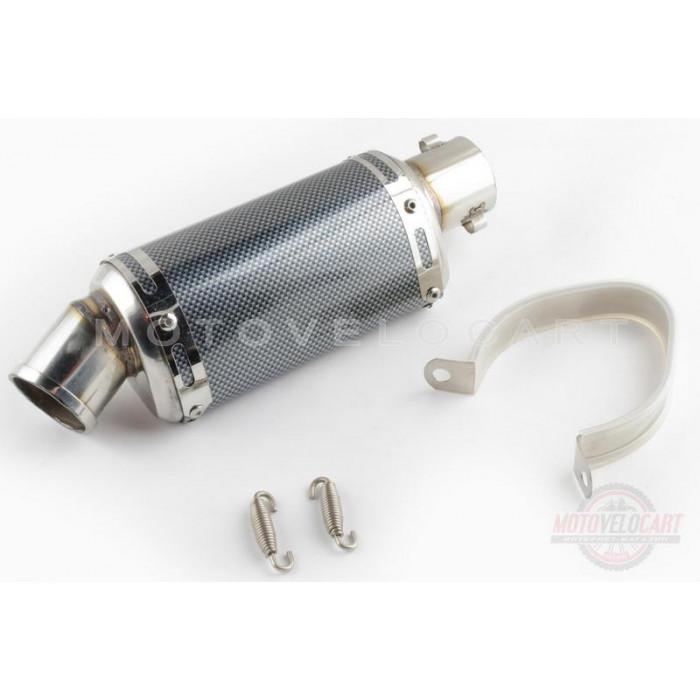 Глушитель (тюнинг)   175*88mm, креп. Ø48mm   (нержавейка, овал, карбон черный, прямоток, mod:1)