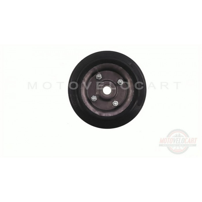 Колесо для тачек и платформ (литая резина)   (180/50- 100mm, под ось 20mm) (1 подшипник, 4 болта)   MRHD, шт