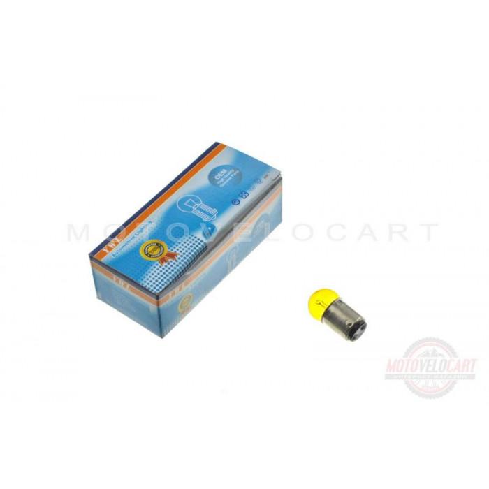 Лампа S25 (двухконтактная)   12V 10W/5W   (стоп, габарит)   (желтая)   YWL