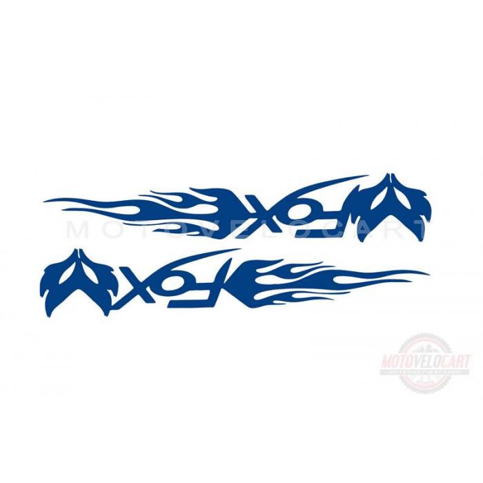 Наклейка   логотип   FOX   (20x5см, синяя, 2шт)   (#049)