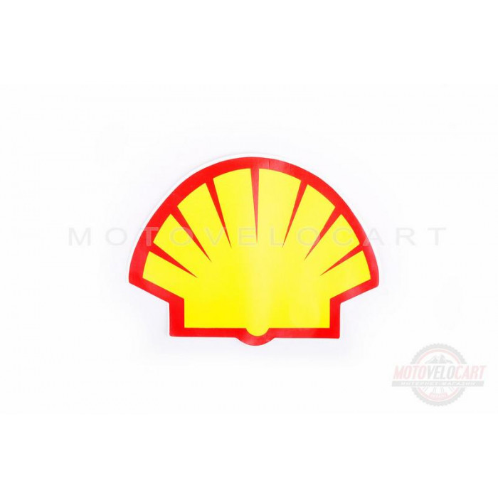 "Наклейка логотип ""SHELL"" (13x9см, красно-оранжевая) (#0347)"